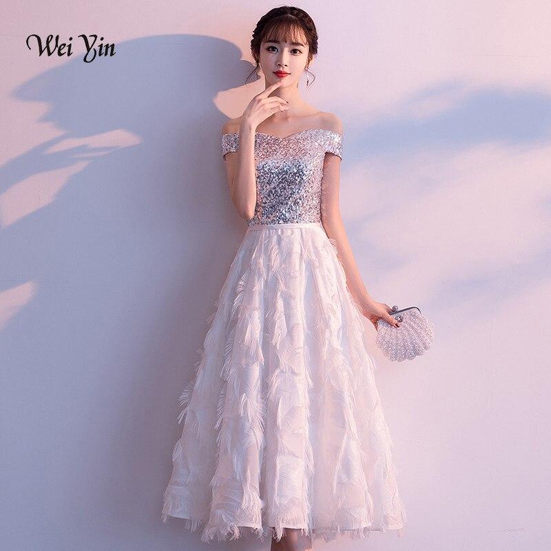 Vestidos cortos de noche de weiyin con lentejuelas blancas, vestido de fiesta de boda con hombros descubiertos, Vestidos formales para baile de graduación