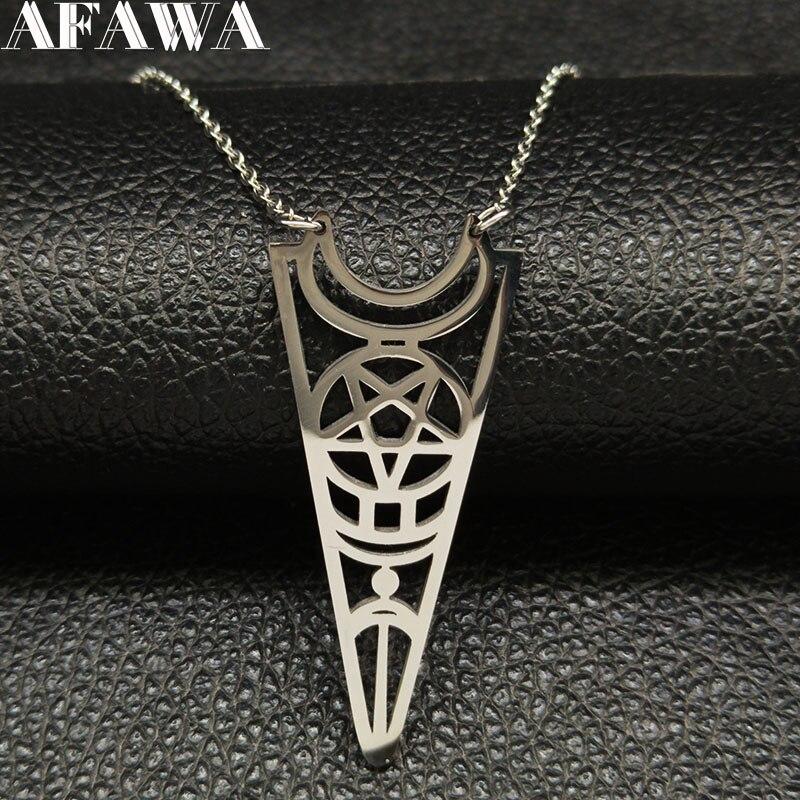 2020 moda Luna pentagrama Acero inoxidable declaración collar mujeres Color plata collar de Wicca joyería collier femme N422S02