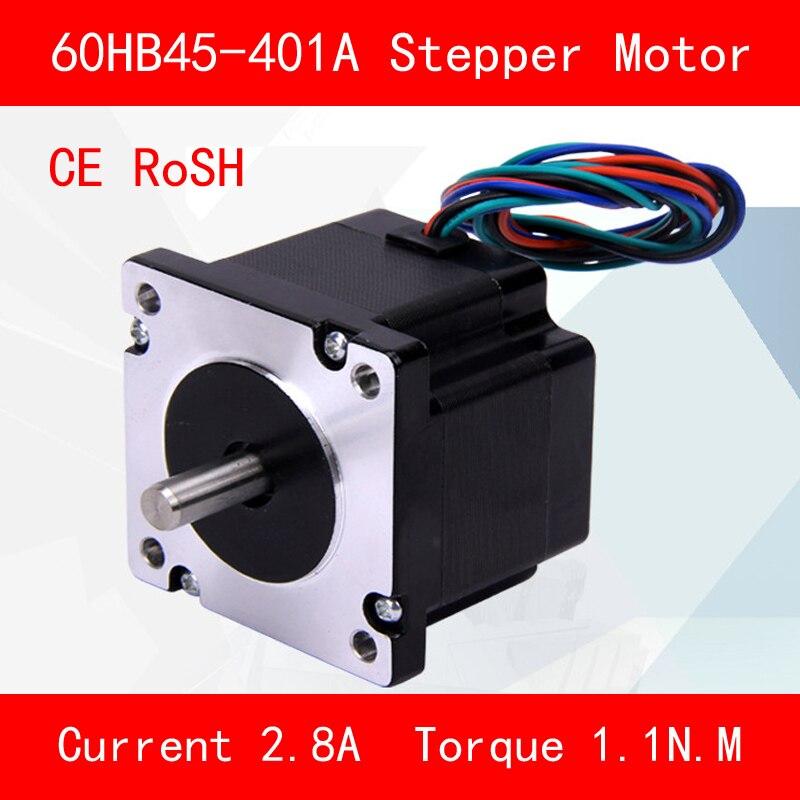CE ROSH 60HB45-401A 1.1N.M atual Fase 2.8A para equipamentos de automação de torque do motor de Passo de impressora 3d cnc
