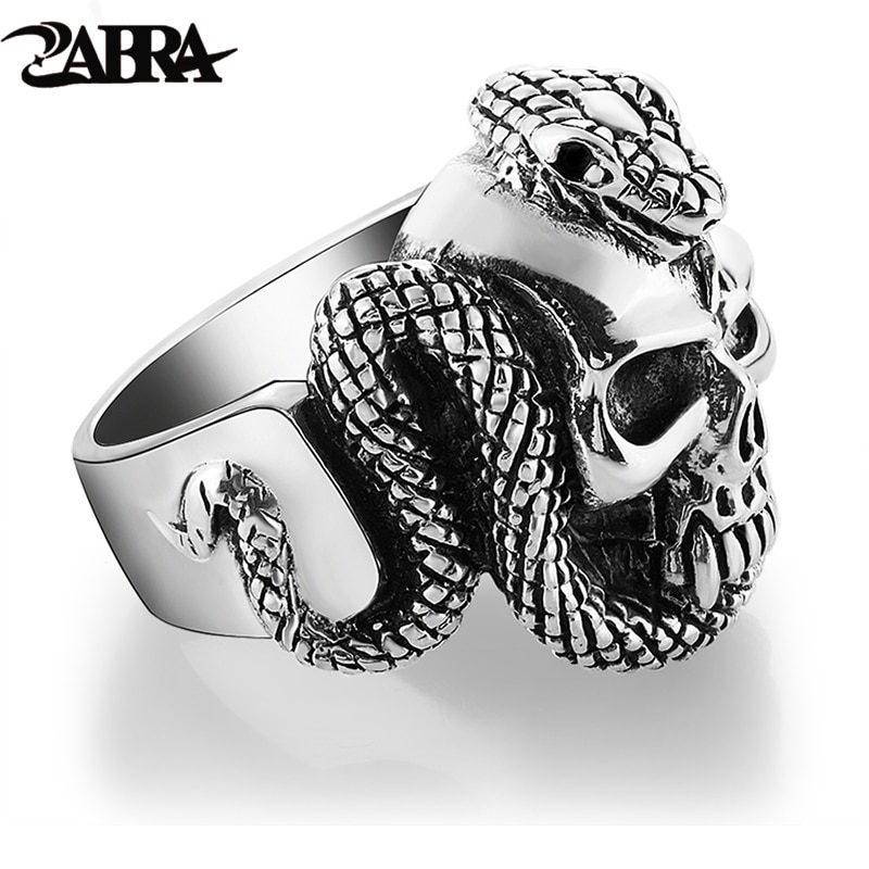 Zabra 100% 925 فضة خاتم الجمجمة للرجال مع ثعبان فاسق صخرة كبيرة هدية ل السائق رجل خواتم الفضة القوطية مجوهرات