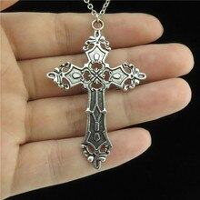 GLOWCAT Q6A22 Alloy Flower Religious Cross Pendant Short Chain Collar Chunky Necklaces Finding Women