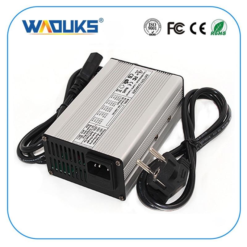 WAOUKS 29,4 V 5A Li-ion cargador de batería para 7S 24V Lipo/LiMn2O4/LiCoO2 carga de batería e-bike carcasa de aluminio con ventilador