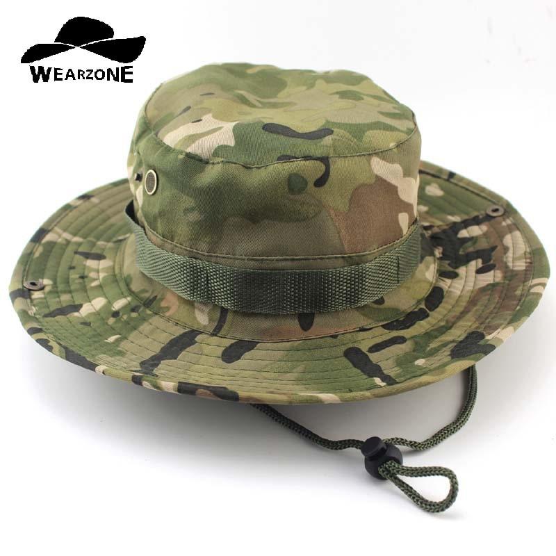 Camouflage Boonie Bucket Hats Camo Fisherman Hats With Wide Brim Sun Fishing Bucket Hat
