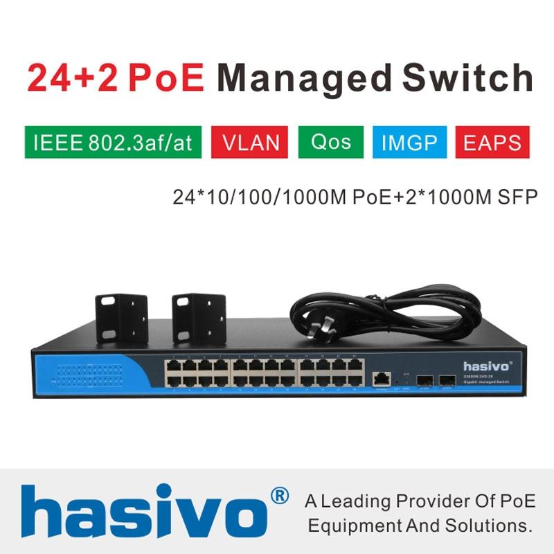 Фото - 24 port Managed  Poe Ethernet Switch 400W managment switch with 24 port 10/100/1000M Rj45 PoE 2 Port SFP fiber 24 ports poe switch with 2 gigabit sfp port 400w poe switch 24 port full gigabit switch