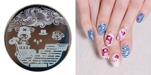 Round Clouds&Flower Pattern 1PCS Nail Art Stamp Stamping HEHE015 Placas Stamping Nails Template Placas Para Carimbo De Unha