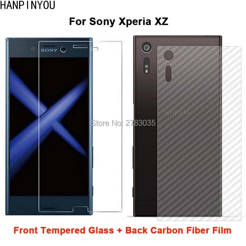 Para Sony Xperia xz/Dual 2 uds = película de fibra de carbono suave posterior + Protector de pantalla frontal de vidrio templado Premium Ultra fino claro