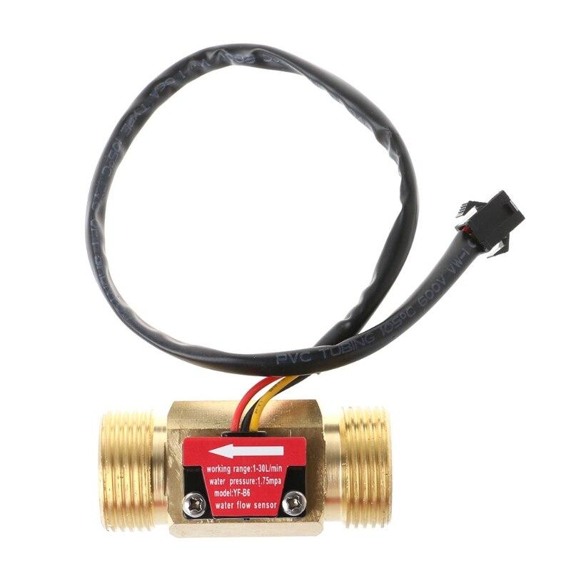 "Water Flow Sensor G3/4"" Hall Flowmeter Switch DN20 1-30L/min Liquid Flow Meter"