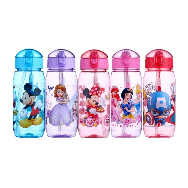 Eco-friendly Kids Drinking Cartoon Water Bottles BPA Free Tritan Straw Children Bottle Children Kett