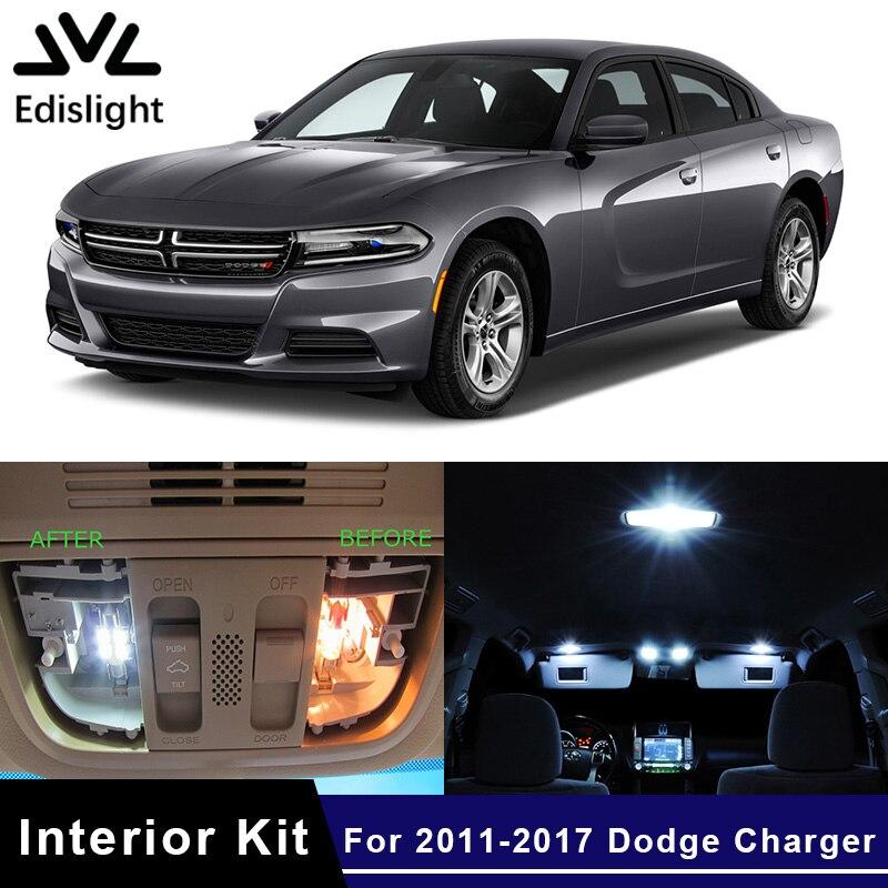 Edislight 13 Uds blanco Canbus LED lámpara bombillas del coche Kit de paquete de interiores para 2011-2017 Dodge cargador mapa cúpula maletero luz de placa de