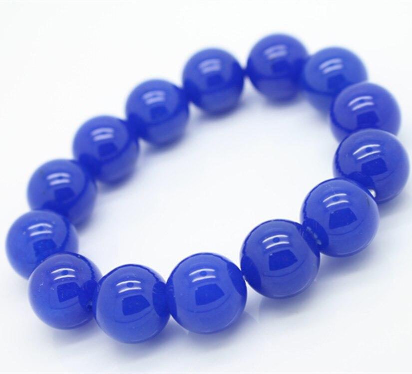 Venta al por mayor Lapis sintético lazuli pulseras y brazalete para mujeres y hombres cuentas azules 6-8-10-12-14MM pulseras de encanto de moda en Stock