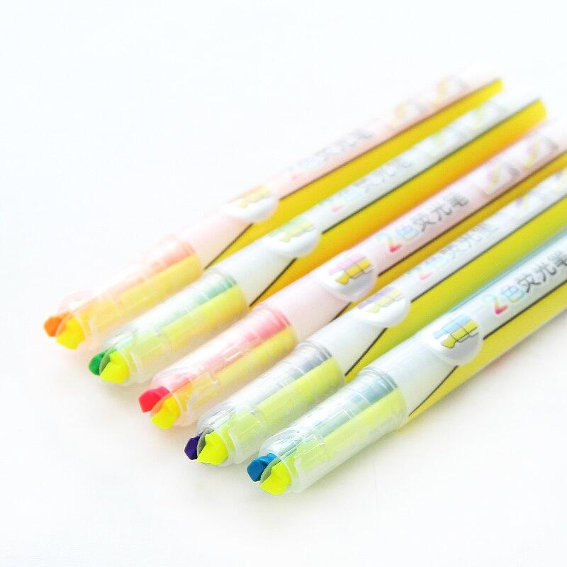 Маркеры для офиса и школы двухцветные в 1 60 шт./лот 6375 school markers markers lothighlighter lot  