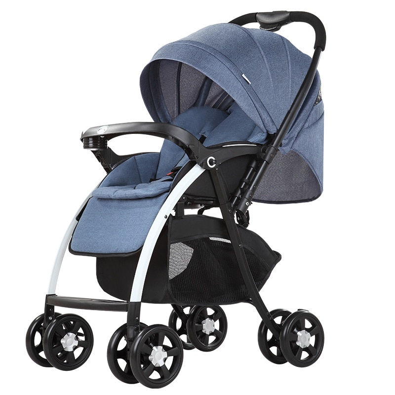 Cochecito con mango de empuje de dos vías de alto paisaje que puede sentarse plano plegable cochecito de coche amortiguador cochecito de bebé