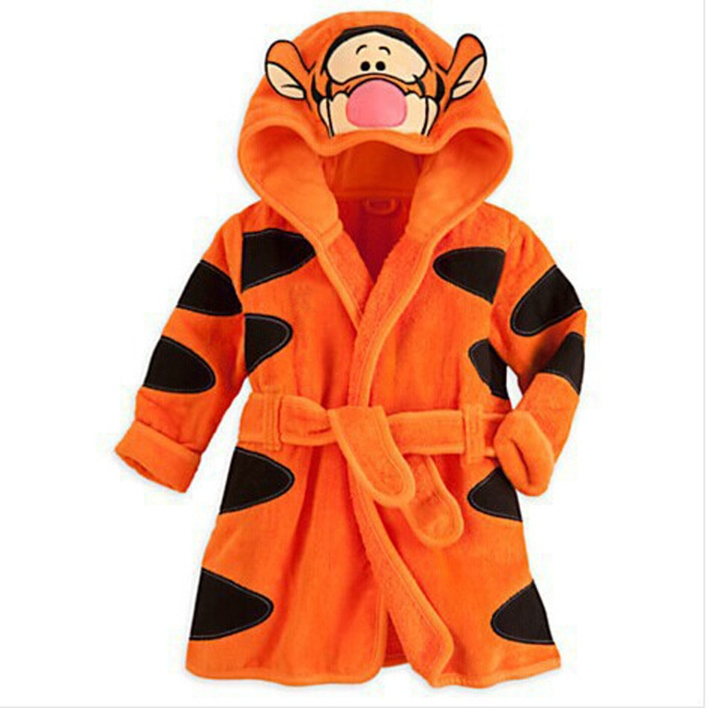 Cartoon Kids Robes Flannel Child Boys Girls Robes Long Sleeve Lovely Animal Hooded Bath Robes Baby Bathrobe Child Clothing