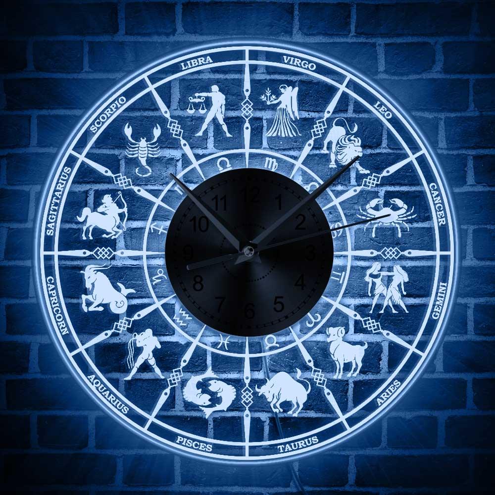 Signo del zodiaco Reloj de pared astrológico con retroiluminación LED sala de estar astrología iluminación decoración Led reloj acrílico constelación regalo