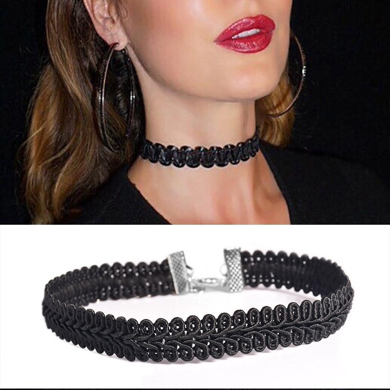 Verano bohemia última moda accesorios de joyería negro encaje ola gargantilla Collar para parejas amantes N172