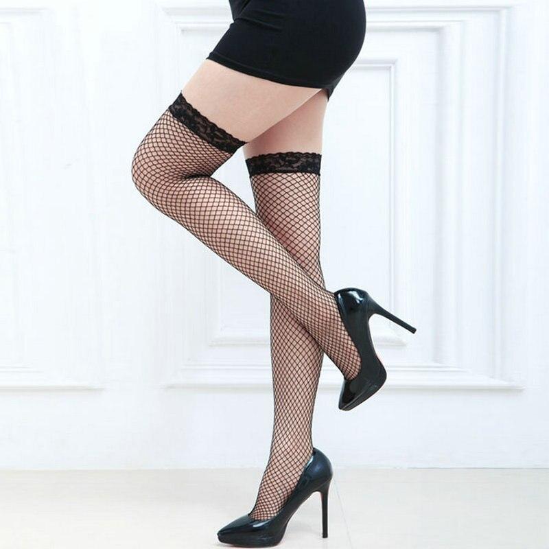 [La MaxPa] 2017 nuevas medias sexy para mujer medias de encaje muslo alto de seda medias de nylon sólido medias de malla