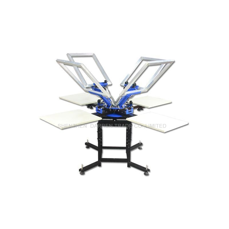 free shipping discount with gift 4 color 2 station silk screen printing machine tshirt printer press equipment carousel squeegee 4 Color 4 Station Screen Printing Machine Comeswith Base Good Quality T-shirt Printing Machine