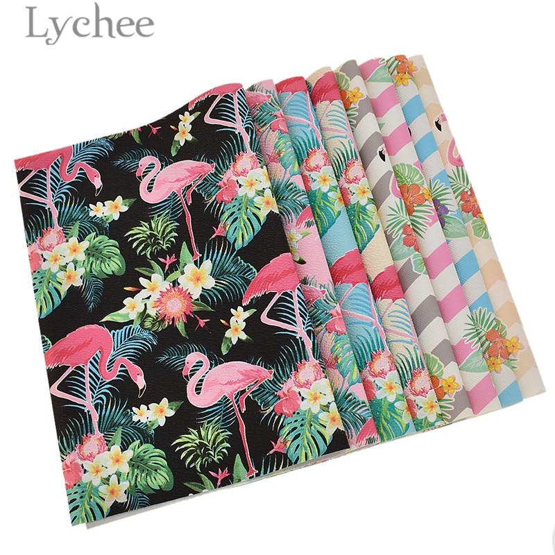 Lychee Life 29x21cm A4 Flamingo tela cuero falso de alta calidad costura de cuero sintético Material DIY para prendas de bolsos