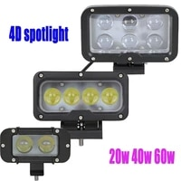 4d 20w 40w 60w led work light exterior led driving light with 10w cree spotlight pencil cannon led off road spot offroad light