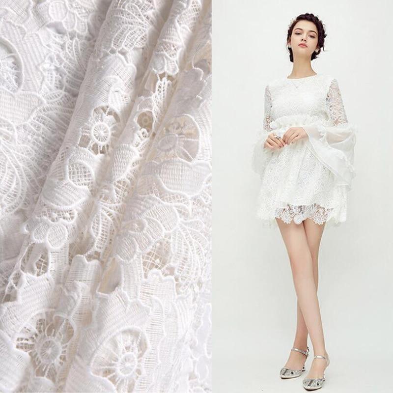 Tela de encaje de malla de alta calidad blanca Para vestido de boda DIY Tissu au Metre Tecidos Para ropa costura de tela de moda tejido