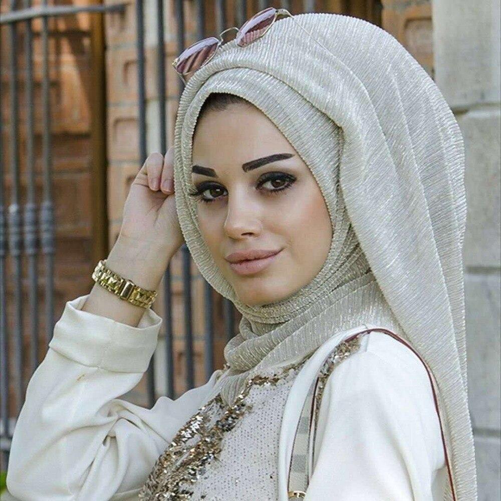 Модный женский шарф-тюрбан, золотой шарф-хофддоек с золотыми морщинами, 75х180см