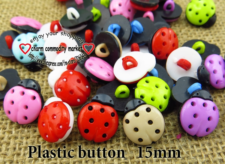 100 piezas 15 MM Colores teñidos plástico ladybird botones abrigo botas costura Ropa Accesorios botón marca P-122