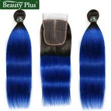 Mèches naturelles péruviennes non remy lisses-ombré   Bleu vert rose blond, rose, tissage de cheveux, avec Closure, lots de 2