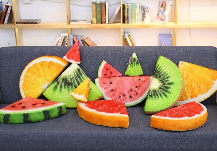 Almohada de simulación creativa de sandía, cojín de fruta, muñeca divertida, pomelo, felpa, almohada de felpa naranja, cojín de felpa de Kiwi