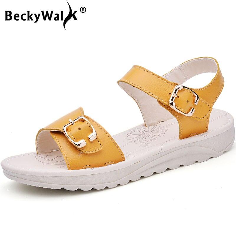 BeckyWalk, Sandalias planas de ocio para Mujer, zapatos de verano para Mujer, zapatos cómodos de playa, Sandalias de cuero genuino para Mujer WSH2767