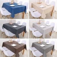 Декоративная Скатерть прямоугольная, покрытие для обеденного стола, однотонная хлопково-льняная скатерть, чехол для обеденного стола
