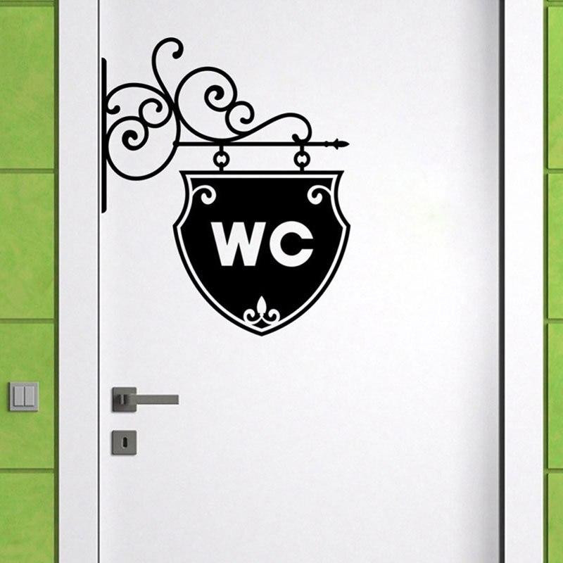 Винтажная WC для стены, двери ванной для туалета, наклейки на дверную пластину, декоративные виниловые наклейки для дома, водонепроницаемые наклейки на стену для туалета