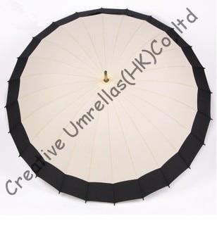 Envío Directo, tejido combinado, paraguas de madera de 24 costillas, eje de madera de 14mm y costillas largas de metal fluidas, parasol de negocios