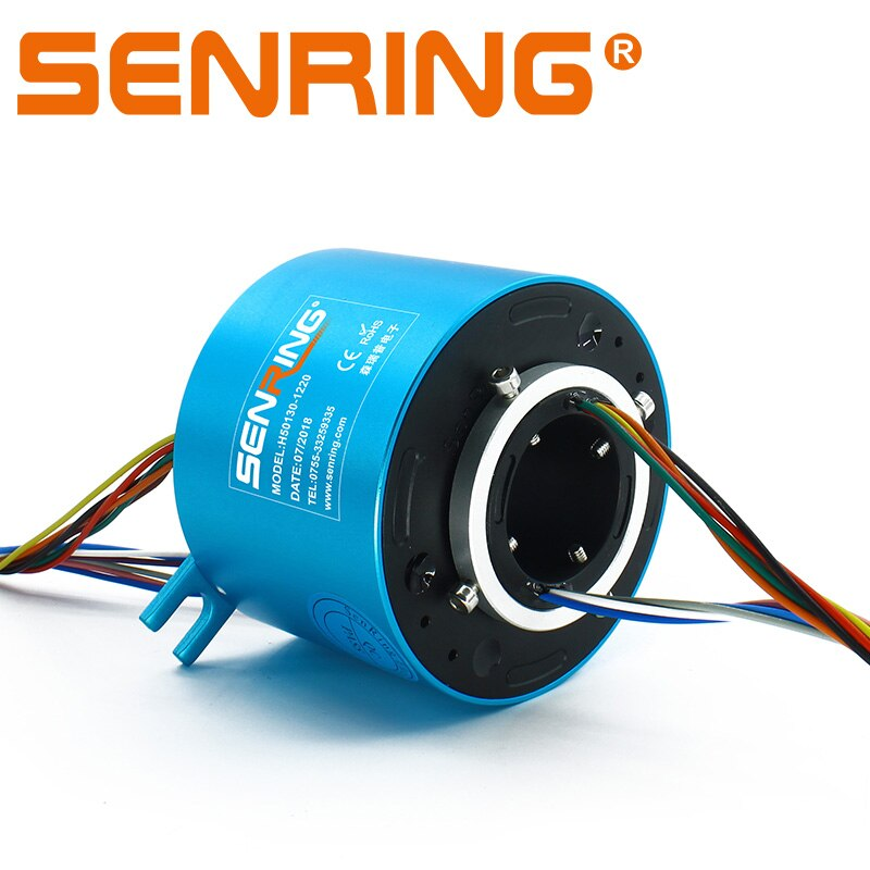 SENRING الكهربائية قطب حلقة الانزلاق 50 ملليمتر الذهب الاتصالات من خلال حلقات الانزلاق 12 الدوائر 10A