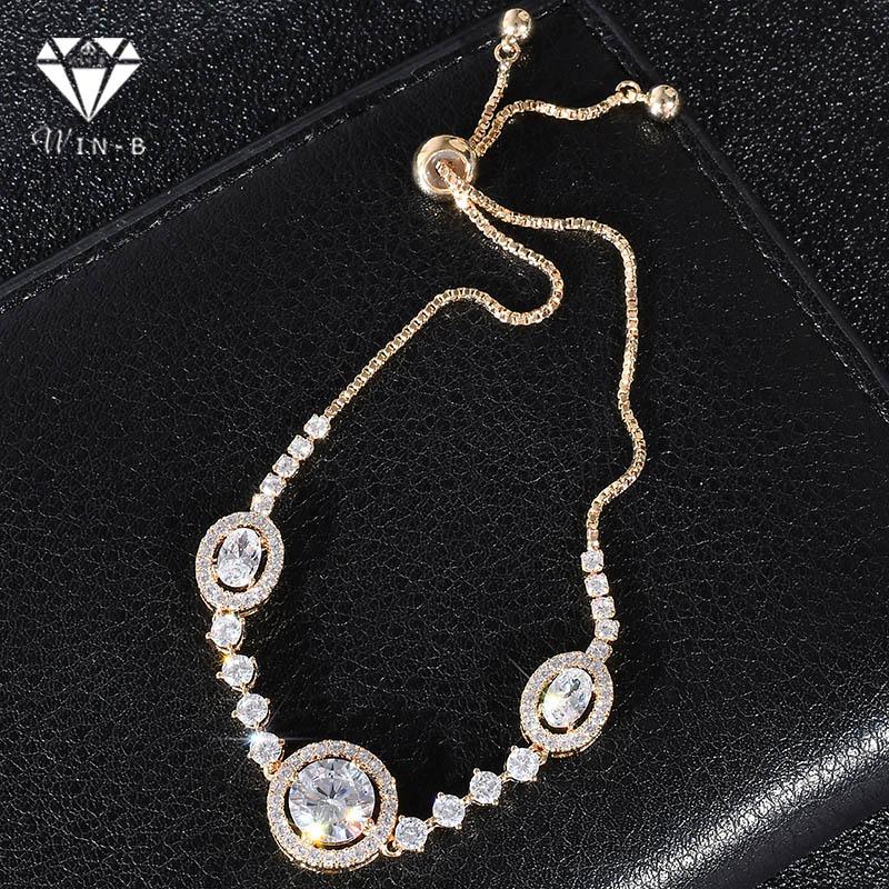 Pulsera de cadena de Zirconia cúbica de WIN-B pulseras de exquisito de oro blanco brazaletes pulsera de tenis Flash accesorios de joyería cumpleaños