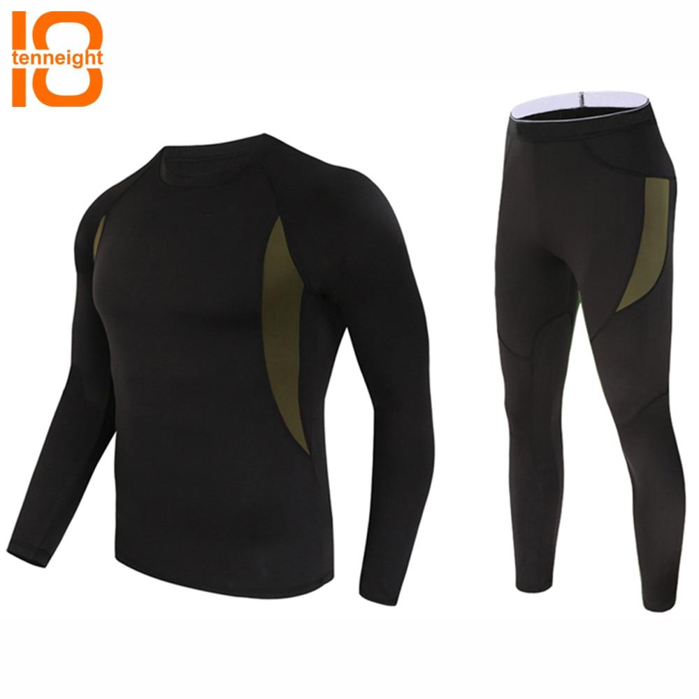 TENNEIGHT ropa interior táctica al aire libre polar elástico deportes ropa interior hombre secado rápido ropa interior caliente hombres ropa conjunto pullover