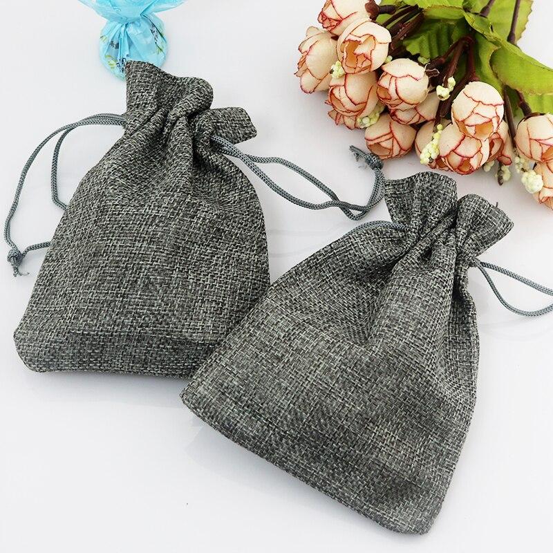 100 unids/lote 7*9cm bolsas de yute grises pequeño saco de regalo con cordón bolsa de lino de incienso bolsas de boda favores de la joyería regalos bolsas de embalaje