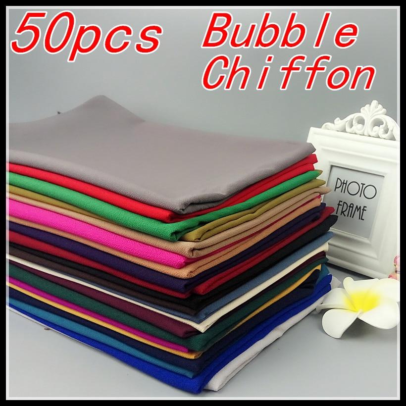 H2 50pcs/lot High Quality Plain Bubble Chiffon Shawls Headbands Popular Hijab Summer Muslim Scarfs