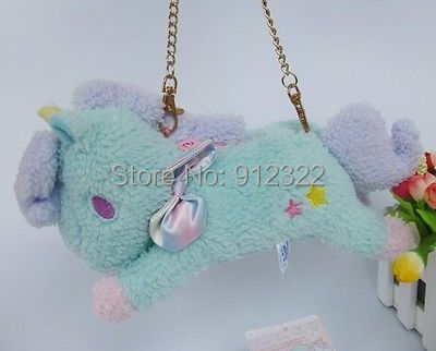 "10""Sanrio Little Twin Stars Light green Unicorn Bag plush toy New"