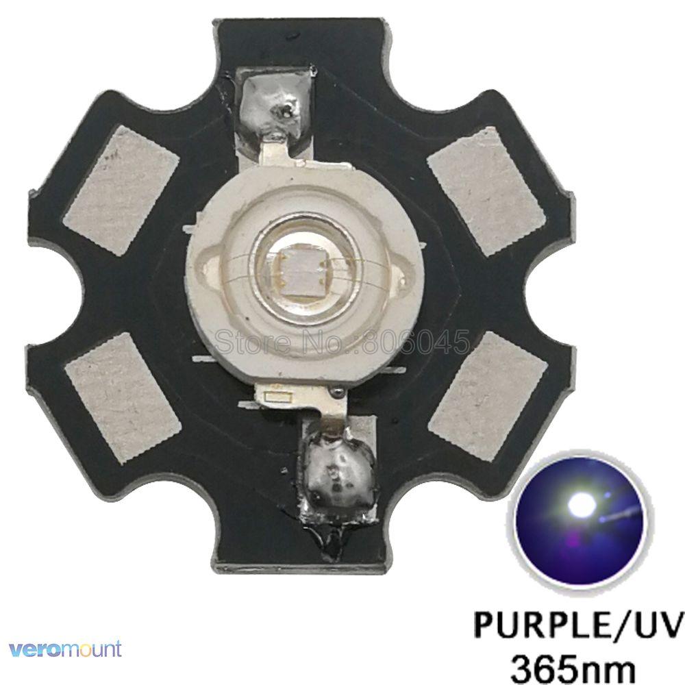 5pcs 3W UV LED 3W 365NM Ultra Violet High Power LED Beads Emitter Bulb Chip Epileds 45mil on 20mm Aluminum PCB