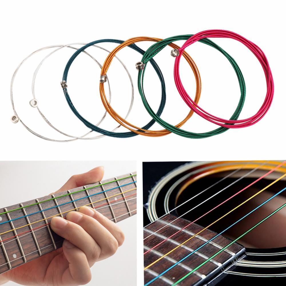 1 Set 6PCS Strings Universal Steel Core E-A Colorful Acoustic Guitar Strings Musical Instrument Guitar Parts Accessories