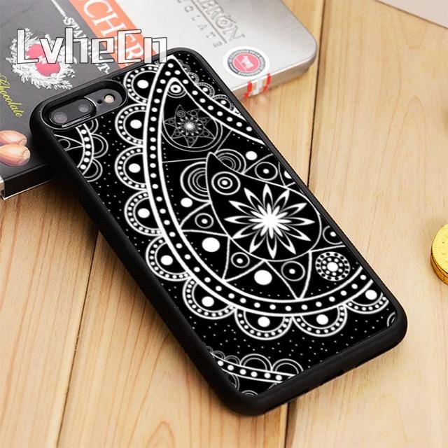 LvheCn Mandala paisley henna flor cubierta de la caja del teléfono para el iPhone 5 se 6 6s 7 7 8 plus 11 pro X XR XS max Samsung S7 borde S8 S9 S10