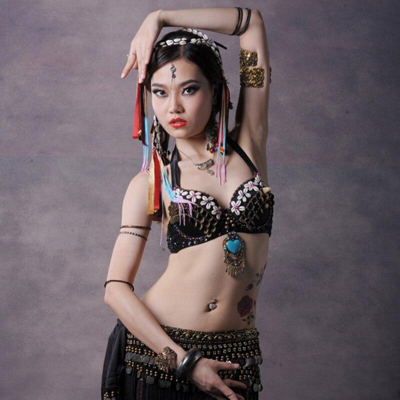 Ethnic Tribal danza del vientre cobre Halter Top Gem colgante corazón de piedra Push Up lentejuelas sujetadores B/C Copa tops con diseño Tribal mujeres