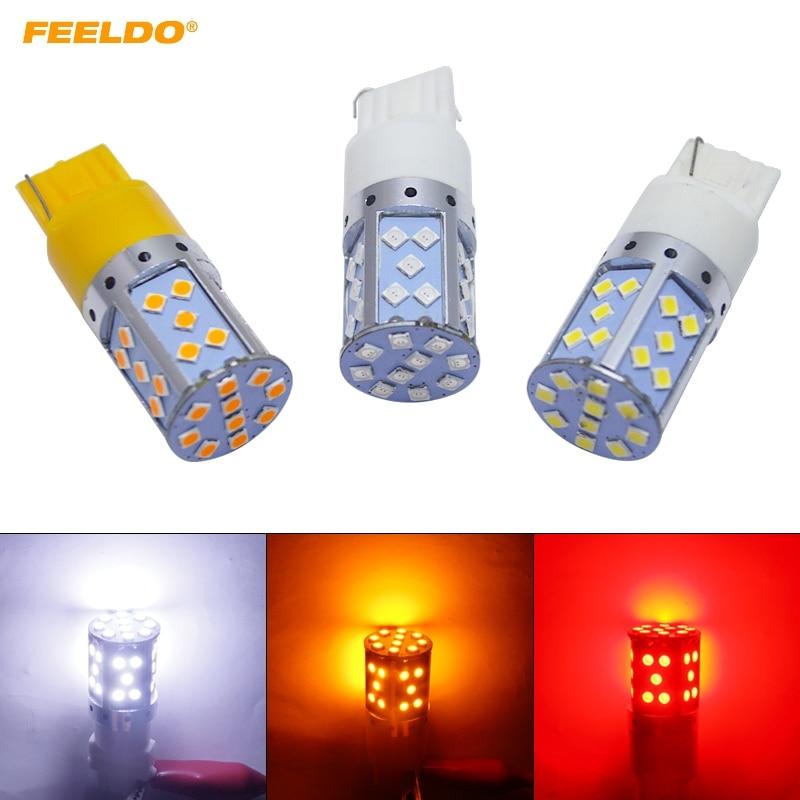 FEELDO 2 uds 7440 T20 3030SMD 35LED intermitente LED para coche luz trasera de freno bombilla Socket 12V Blanco/ámbar/rojo