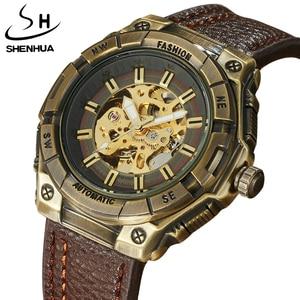 Fashion Luxury Brand Automatic Mechanical Watches Male Fashion Skeleton Dial Luminous Leather Mens Auto Mechanical Wristwatches