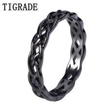 TIGRADE 4mm noir 925 bijoux en argent Sterling celtique noeud bague femmes éternité mariage fiançailles bande mode Anel anneaux collier