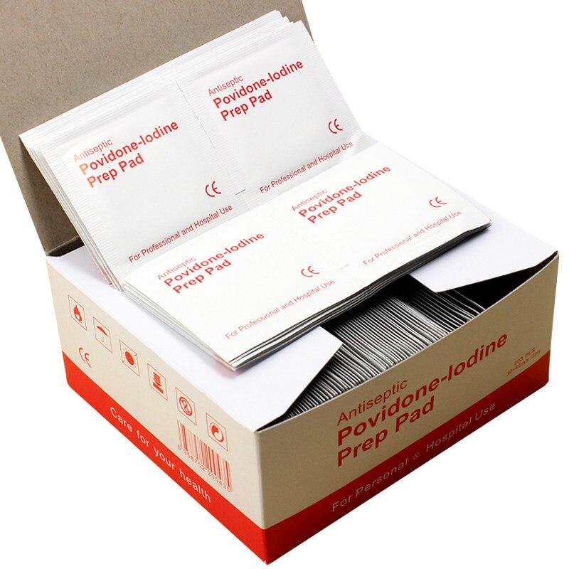 20-50-100pzas almohadilla de preparación de Povidone-lodina sellada esterilizada desinfección de heridas para viajes en casa campamento al aire libre Kits de primeros auxilios Accesorios