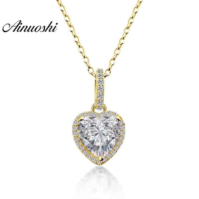 AINUOSHI 14K Gelb Gold Herz Anhänger 2,7 Karat Herz Cut Top Qualität SONA Simulierte Diamant Frauen Engagement Separaten Anhänger