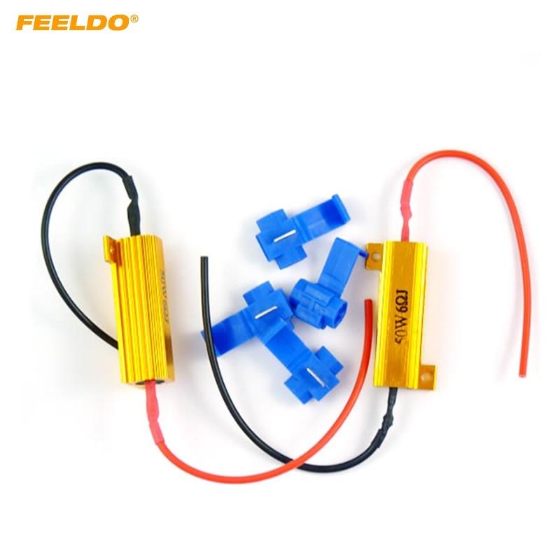 Feeldo 1 conjunto 50 w 6ohm smd led resistores de carga para sinal de volta luz corrigir lâmpada para fora/erro/piscar # am3430