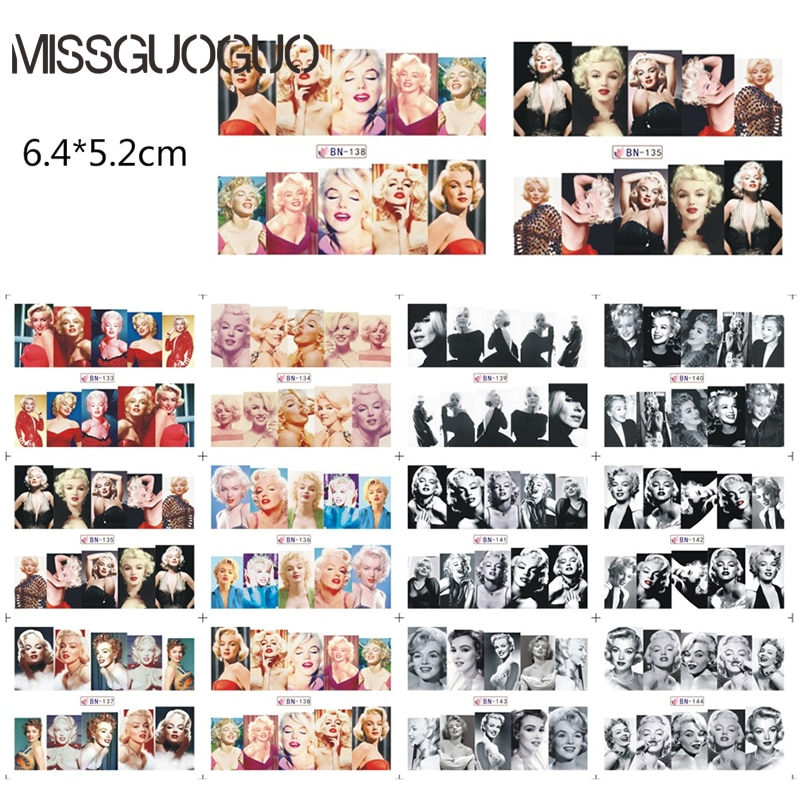 MISSGUOGUO sexy Marilyn Monroe nail sticker water decal red lips golden hair DECALS nail art decorations water transfer WRAPS