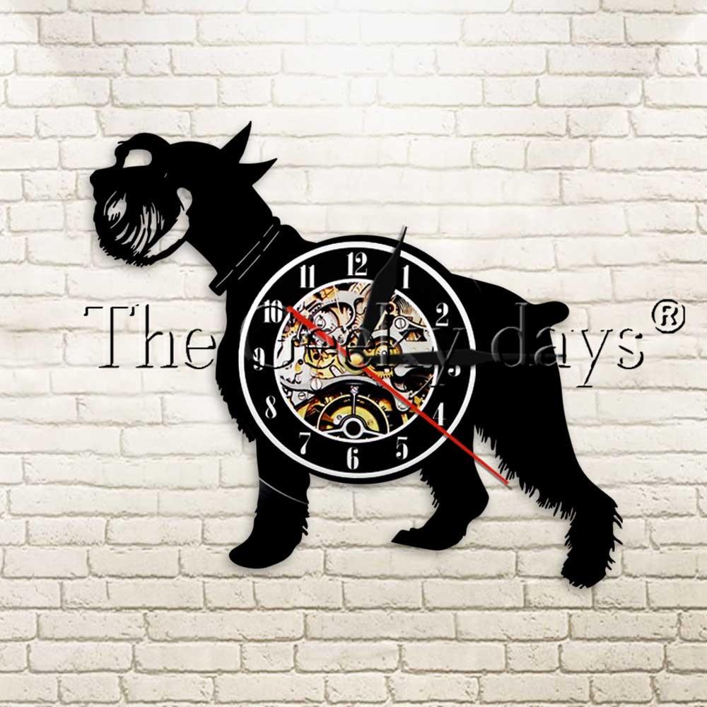 Виниловые часы Schnauzer Dog, 1 штука, настенные часы с животными, винтажный светодиодный черный подвесной Современный домашний декор, подарок руч...